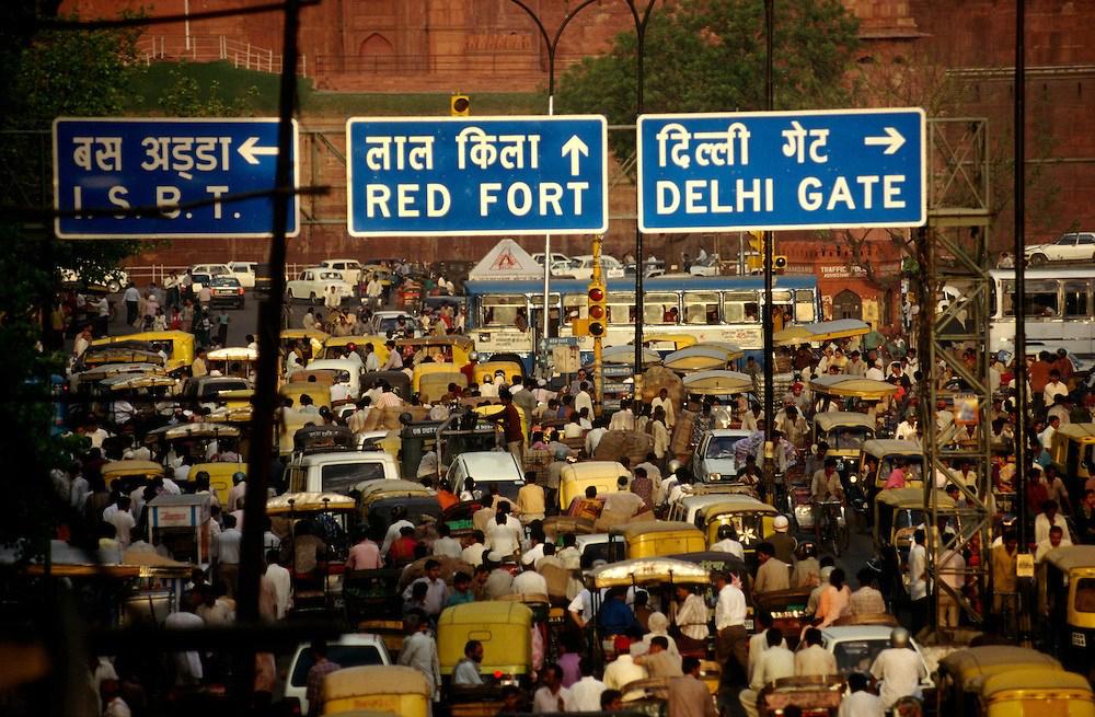 A crowded road near Chandni Chowk in Delhi