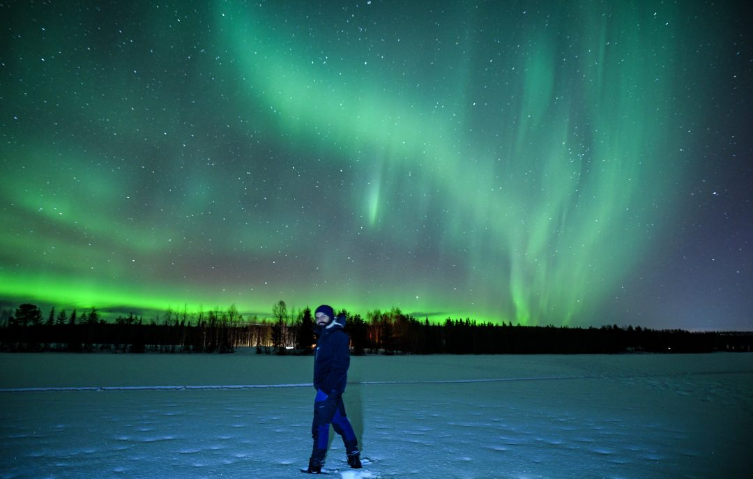 Northern Lights tour in Rovaniemi in winter