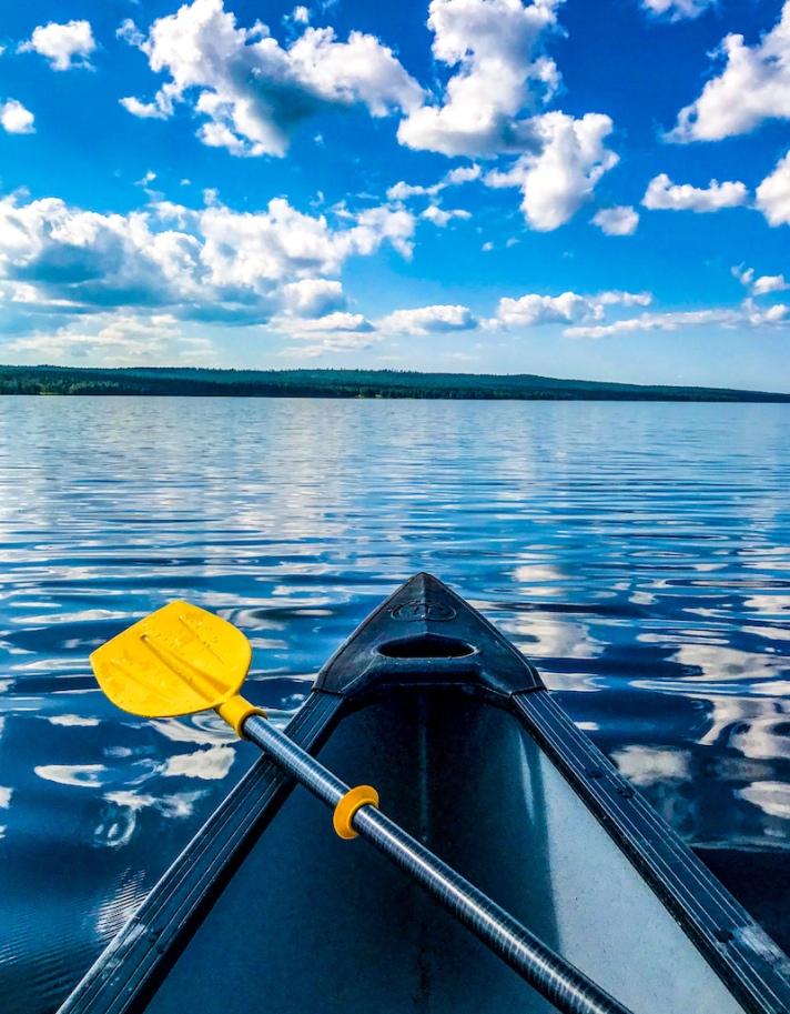 Canoeing in Rovaniemi in summer
