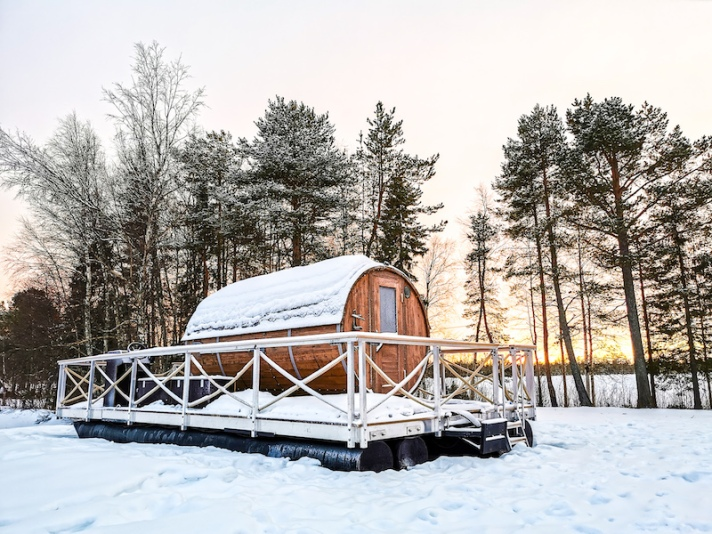 Sauna in Rovaniemi in winter