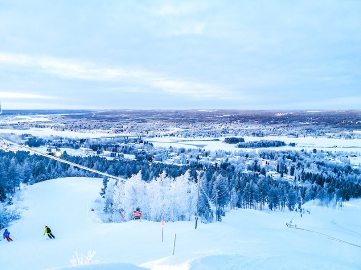 View from Ounasvaara top in Rovaniemi in winter
