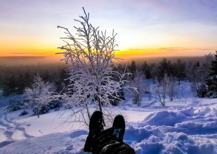 Hike to Ounasvaara top in Rovaniemi in winter