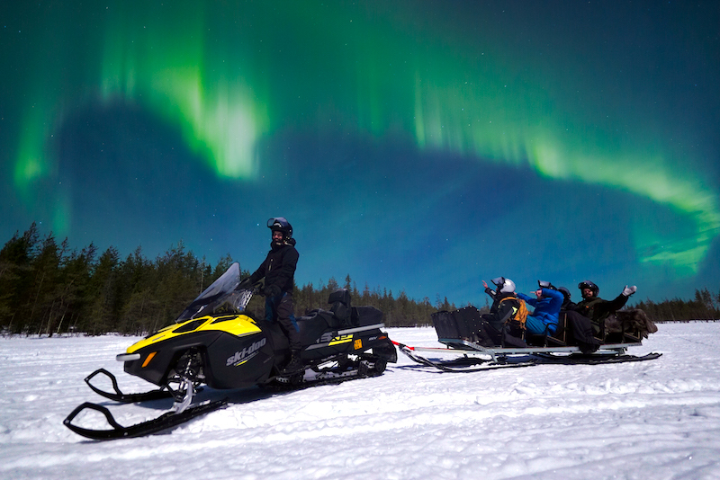 Northern Lights Snowmobile ride in Rovaniemi in winter