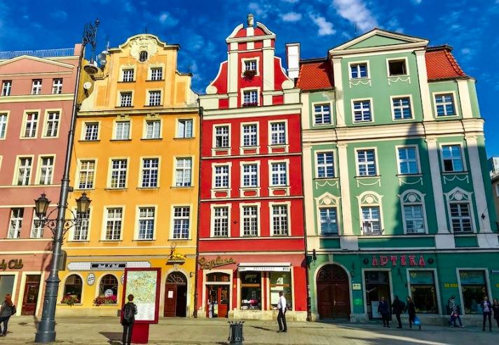 Rynek market square in Wroclaw Poland