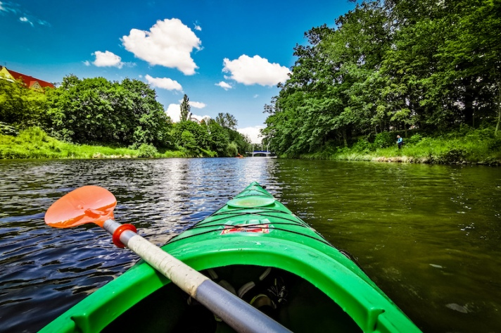 View from Kayak in Odra in Wroclaw