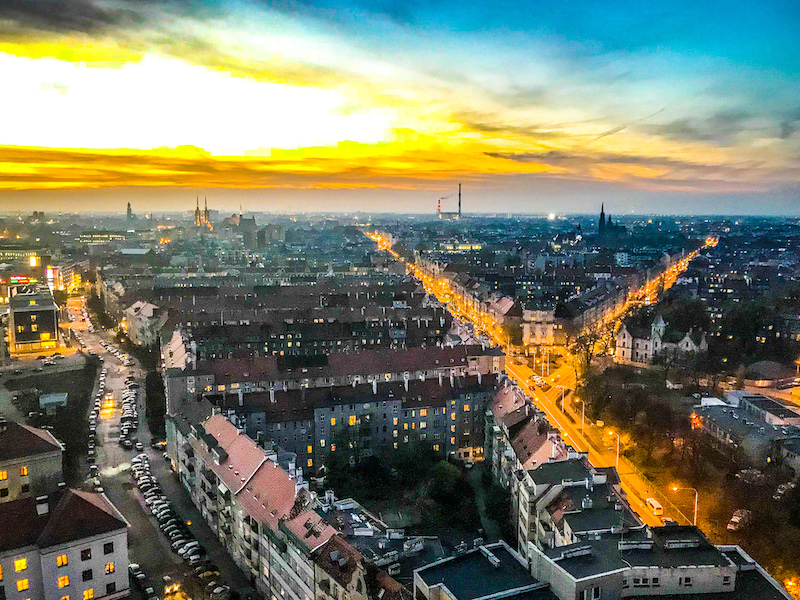 View of Wroclaw city from Kredka dormitory