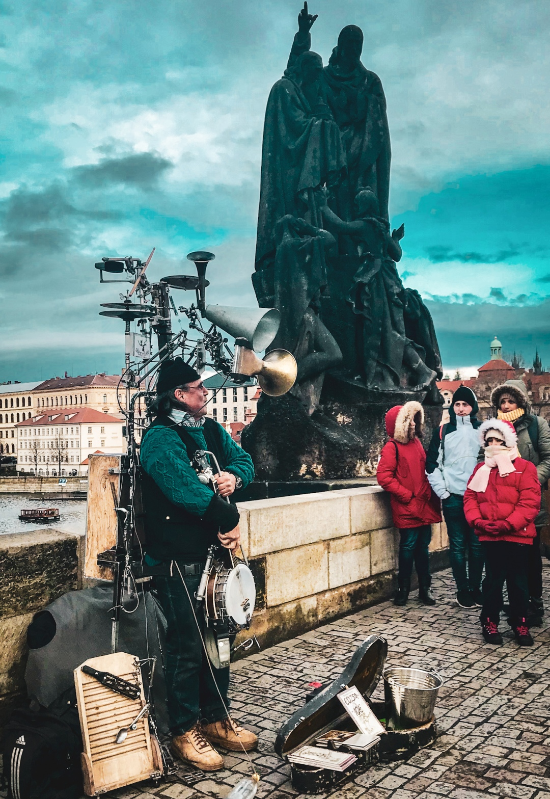 A musician on Charles Bridge in Prague
