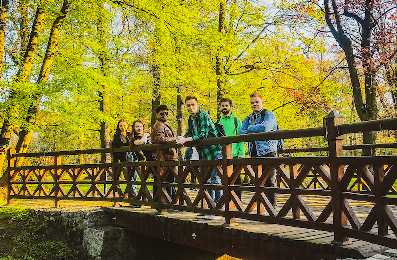 Wooden bridge in Szczytnicki Park in Wroclaw