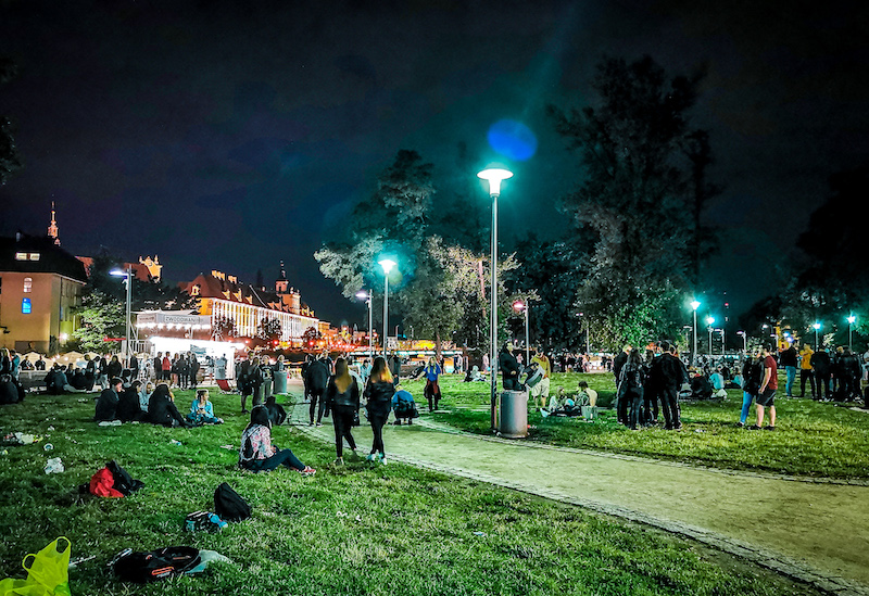 People partying at Wyspa Island next to University of Wroclaw
