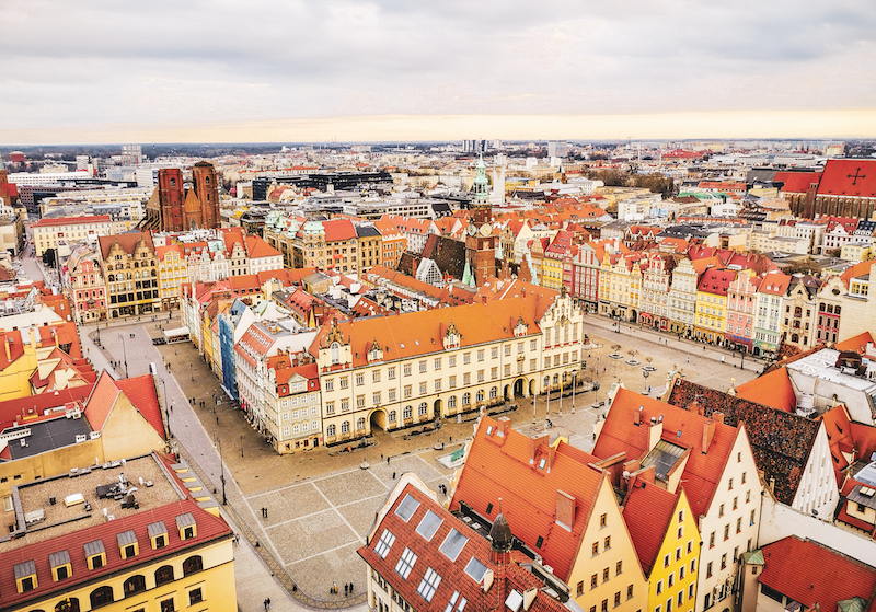 Wroclaw city center aerial view
