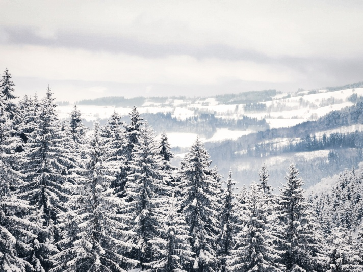 Owl Mountains snow covered landscape