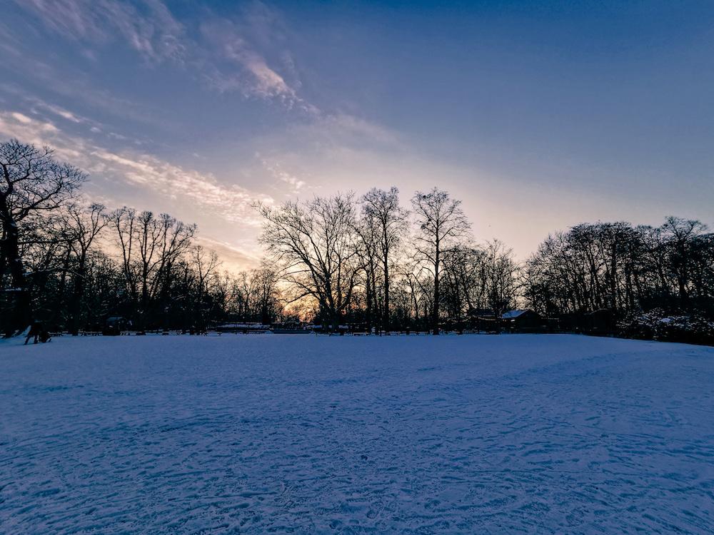 A frozen lake in Wroclaw in winter