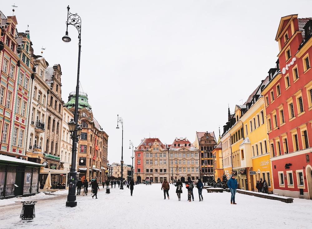 Rynek market square in Wroclaw in winter