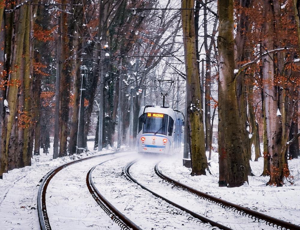 Tram in Wroclaw in winter