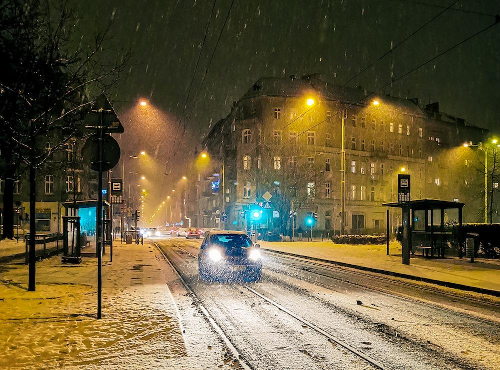 Street of Wroclaw in winter