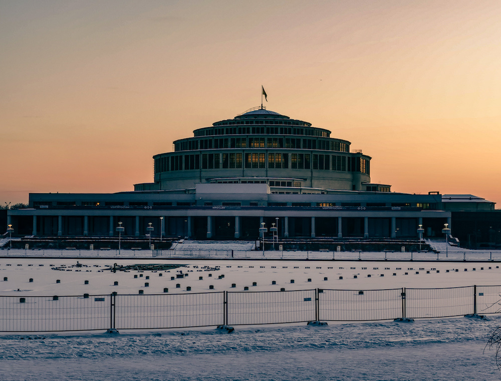 Centennial Hall in Wroclaw in winter