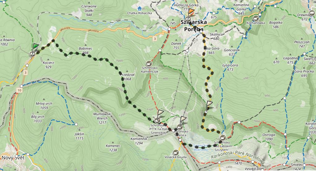 Szklarska Poręba Jakuszyce to Szrenica hiking route